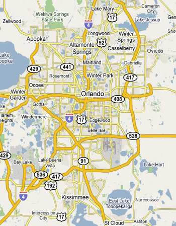 Map Of Orlando And Surrounding Towns Trash and Construction Debris Dumpsters, Orlando, Florida
